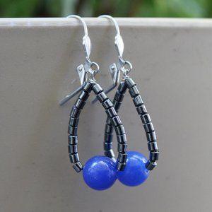 Hematite & blue jade earrings